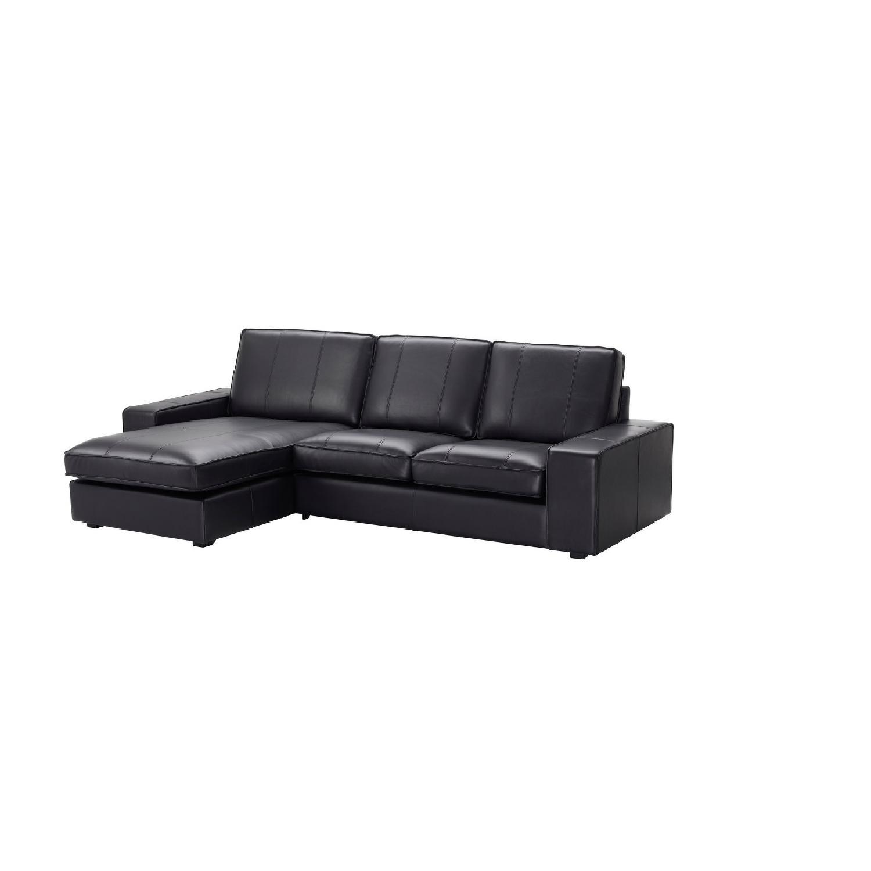 Ikea Black Leather 2 Piece Chaise Sectional Sofa U0026 Ottoman ...