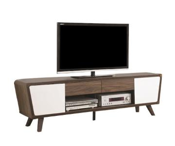 Mid Century Style TV/Media Stand w/ White Cabinet Doors