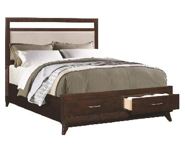 Coaster King Bed w/ Upholstered Headboard & Storage Drawers