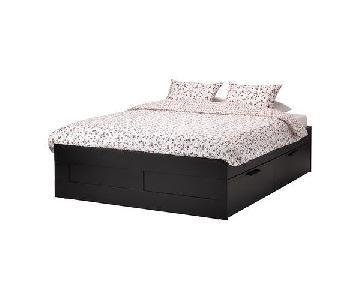 Ikea Brimnes Queen Size Bed w/ Storage & Headboard