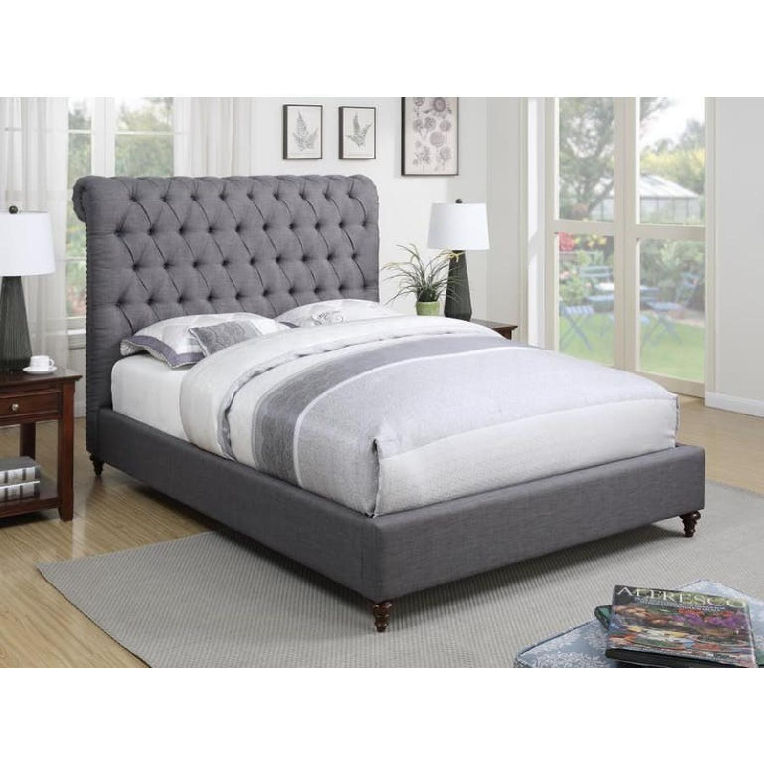 Coaster Chesterfield Style King Bed Upholstered in Grey-1