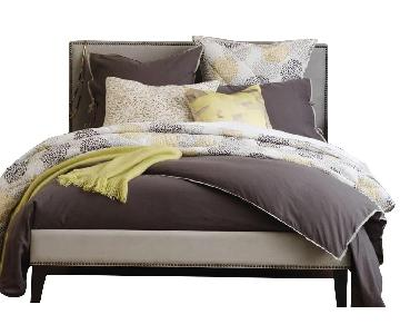 West Elm Nailhead Upholstered Bed Frame w/ Headboard