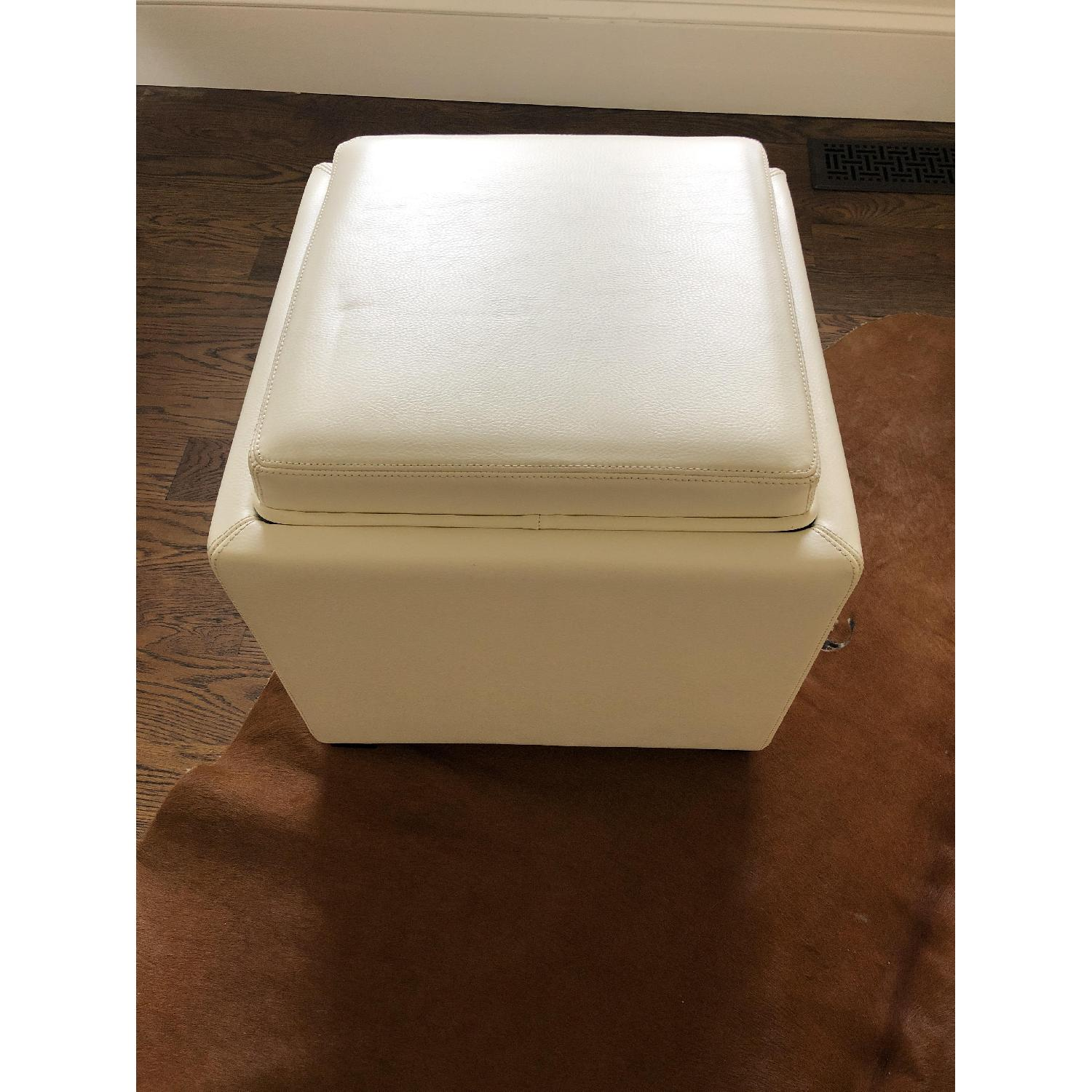 Crate & Barrel Stow Alabaster Leather Storage Ottoman-0