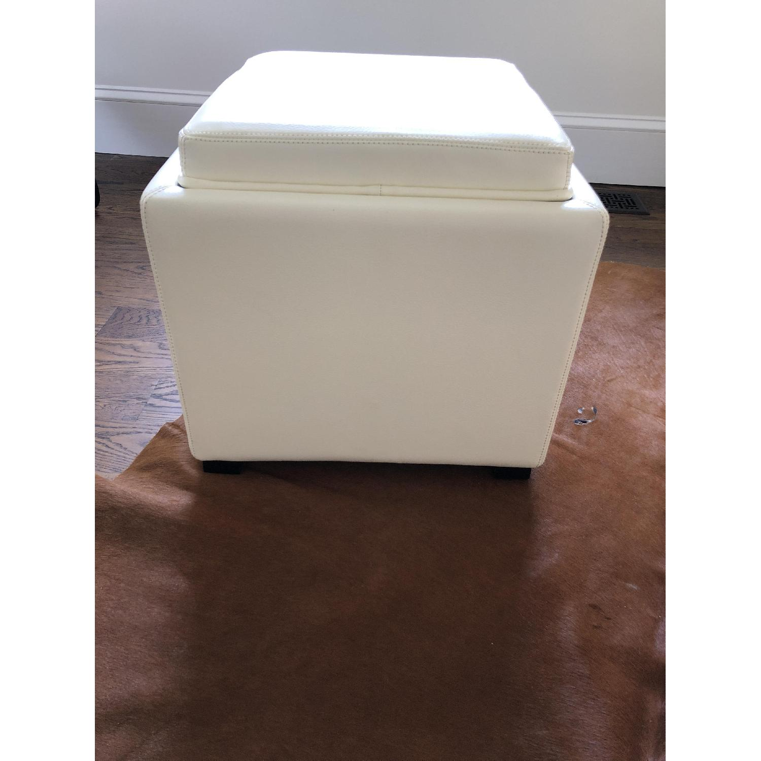 Crate & Barrel Stow Alabaster Leather Storage Ottoman-1