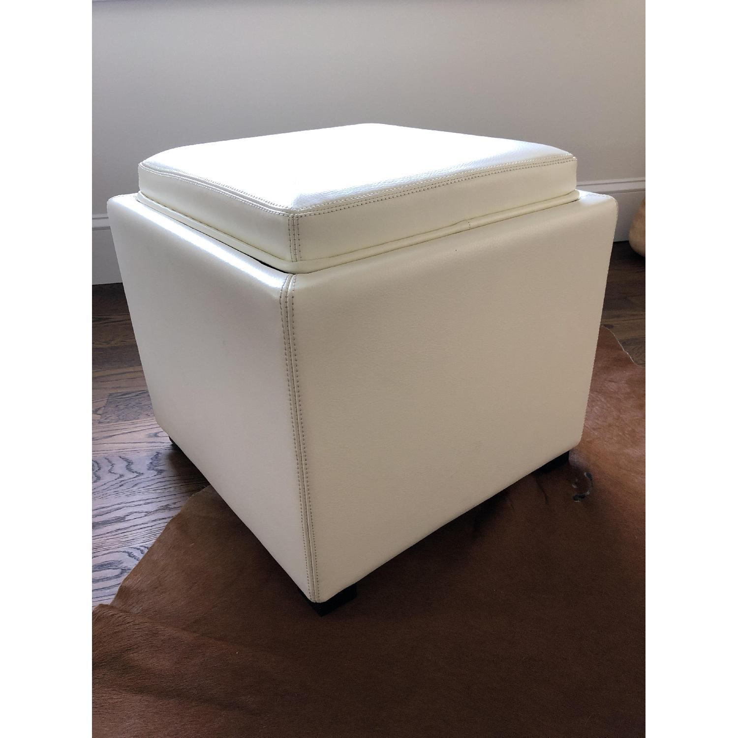 Crate & Barrel Stow Alabaster Leather Storage Ottoman-2