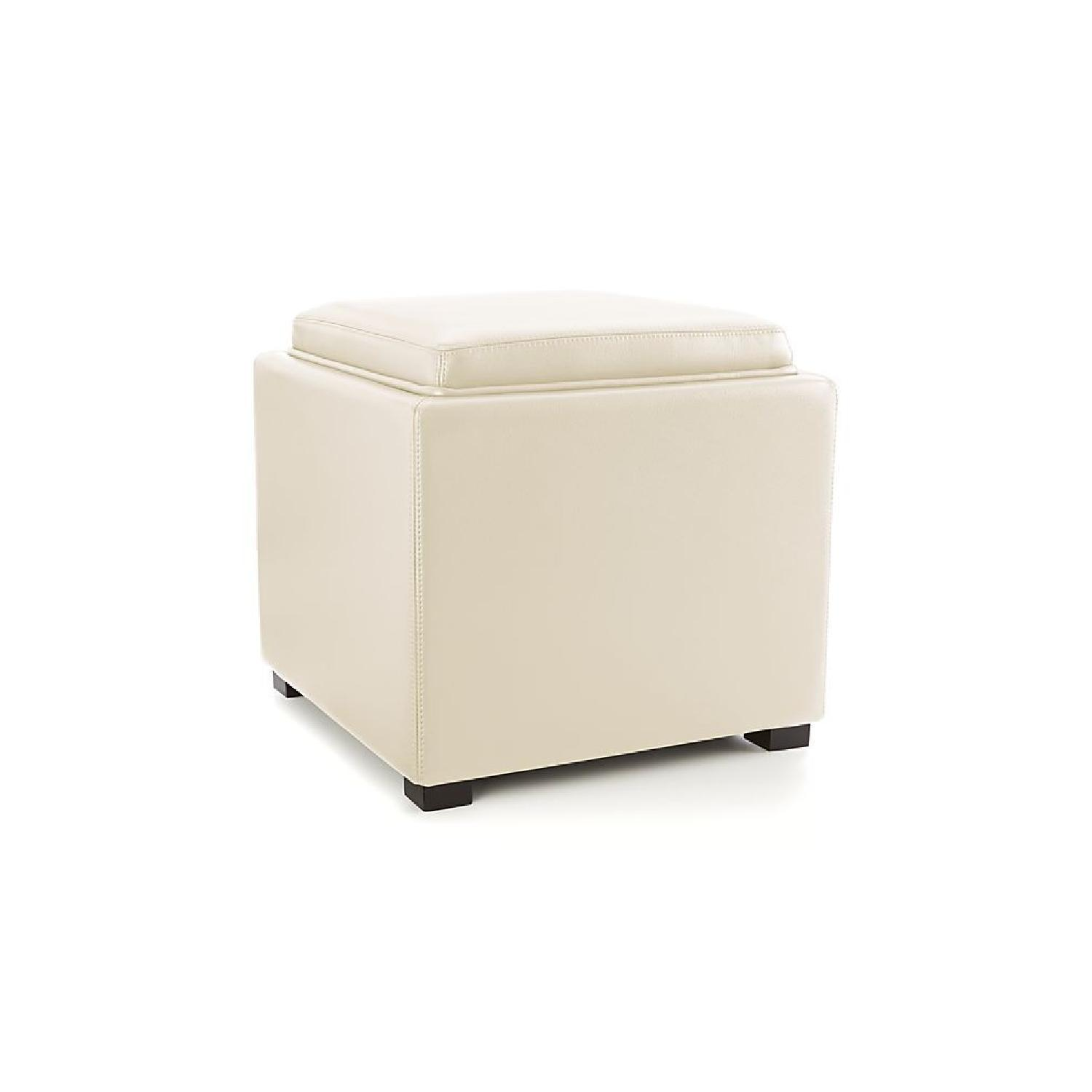 Crate & Barrel Stow Alabaster Leather Storage Ottoman