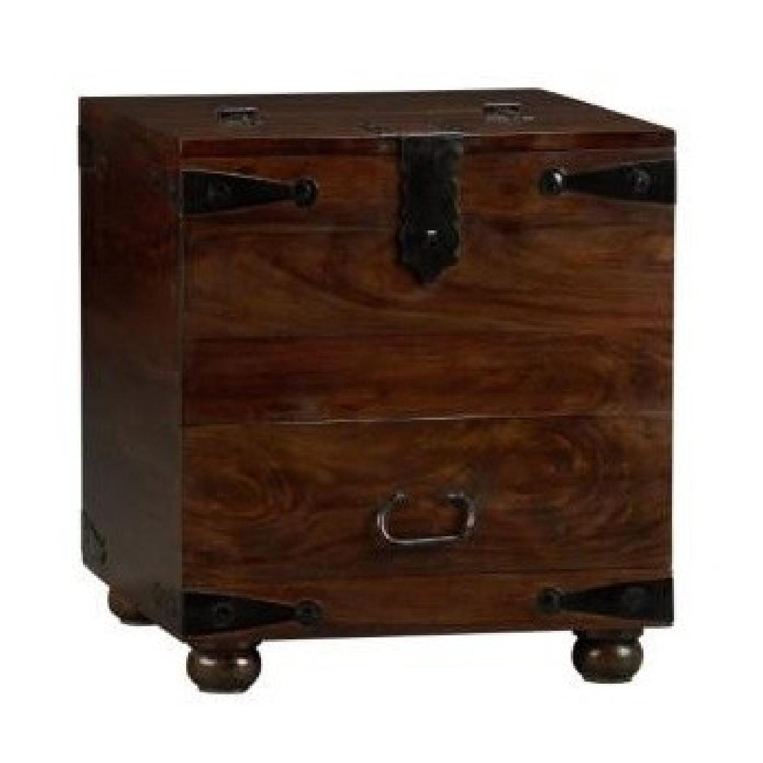Crate & Barrel Taka Storage Chest Coffee Table + Side Table