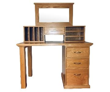 Handmade Desk w/ Drawers, Hutch & Mirror