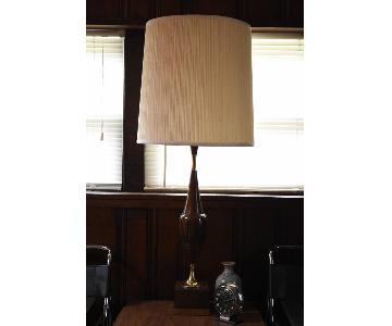 Vintage Mid Century Modern Wood & Brass Grecian Urn Lamp