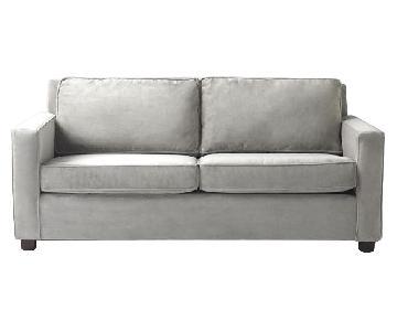 West Elm Henry Dove Grey Velvet Sofa