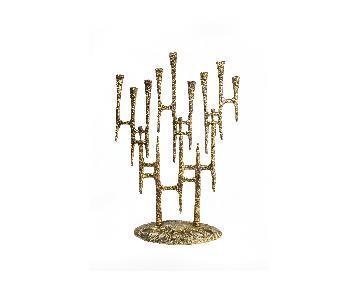 Brutalist Brass Menorah by Wainberg