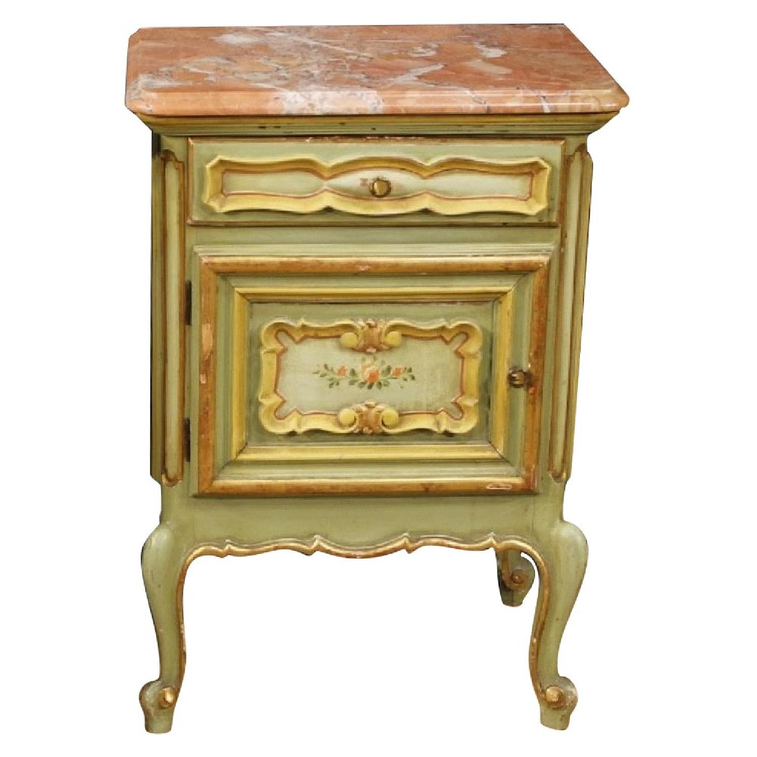 Italian Painted Bedside Tables w/ Marble Top