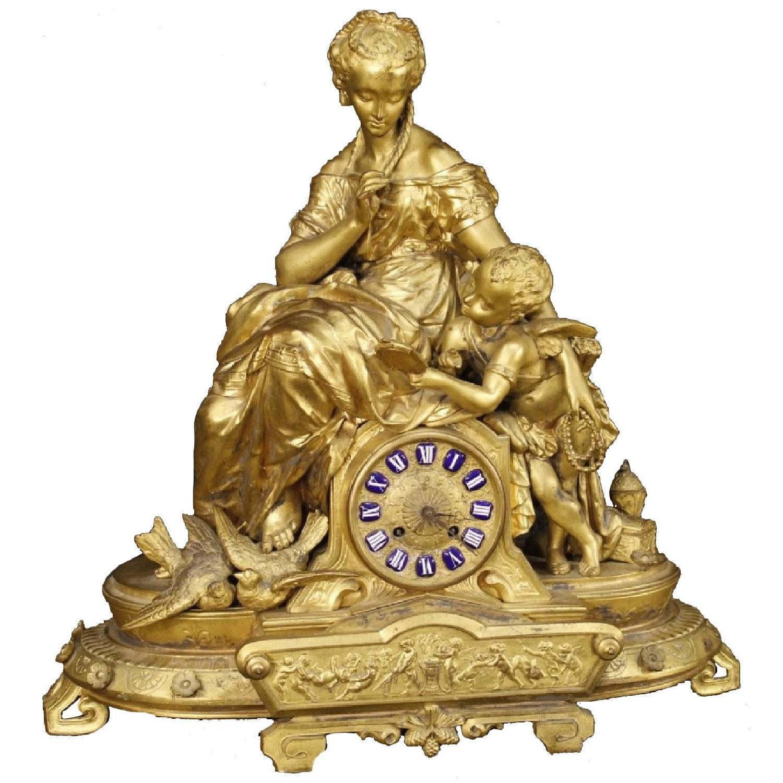 20th Century 1920 Chiseled & Gilt Antimony French Clock
