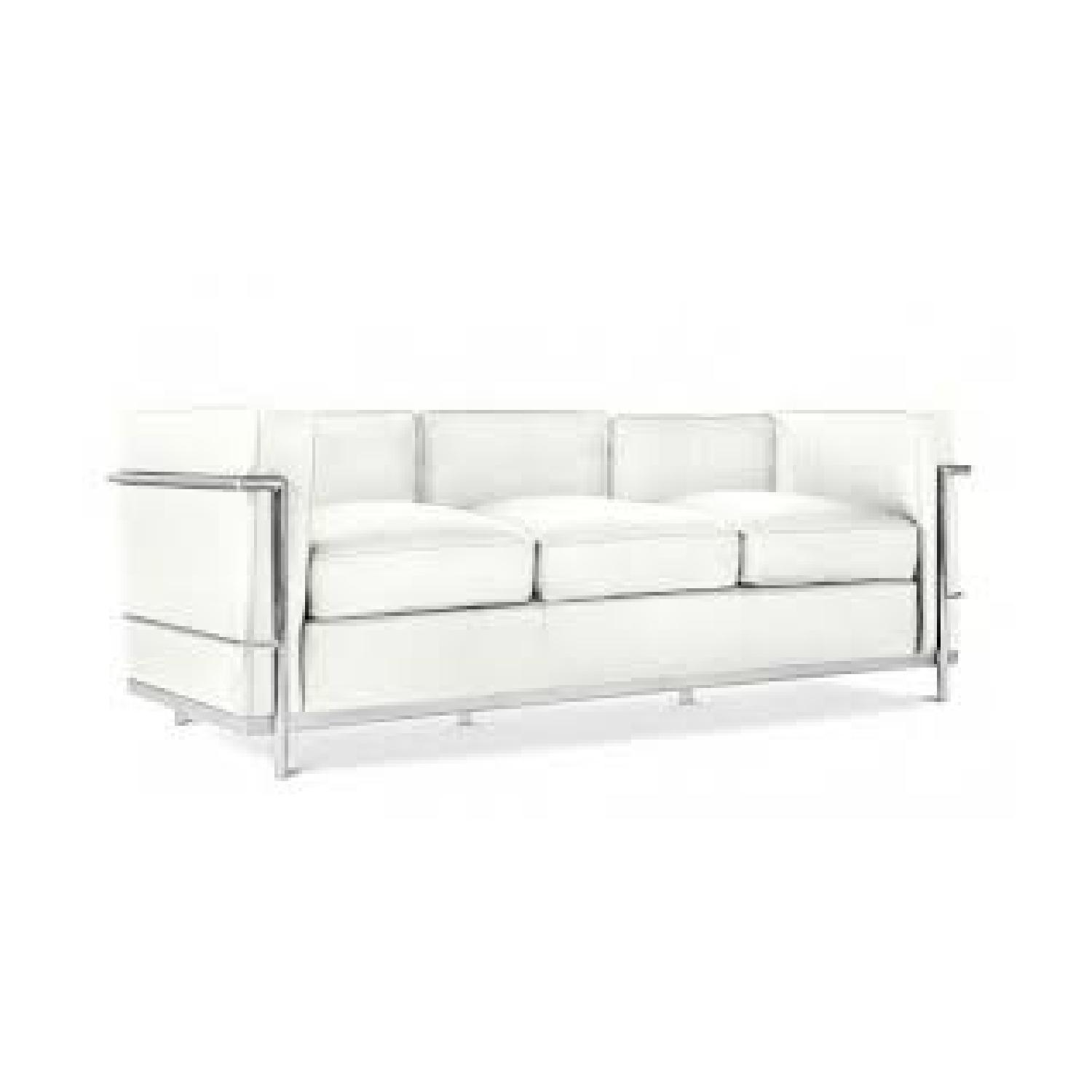 Cassina Le Corbusier LC2 Ivory Leather 3 Seat Sofa ...