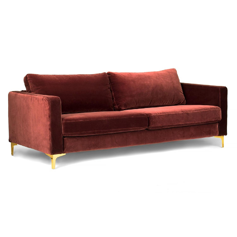 Brown Fabric Sofa - image-0