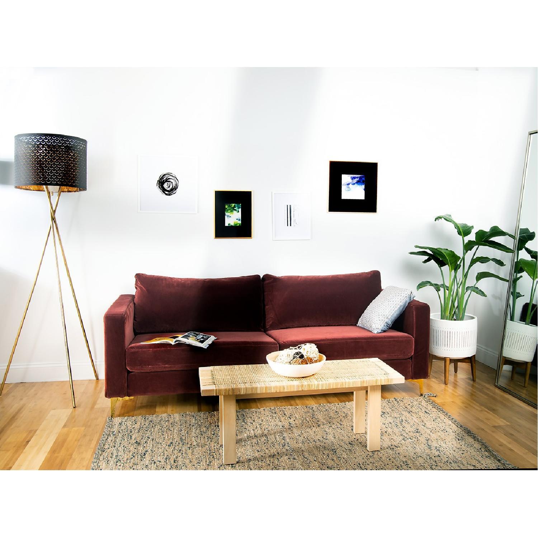 Brown Fabric Sofa-1