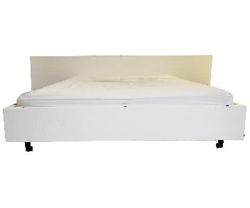 Modern White Wood Bed
