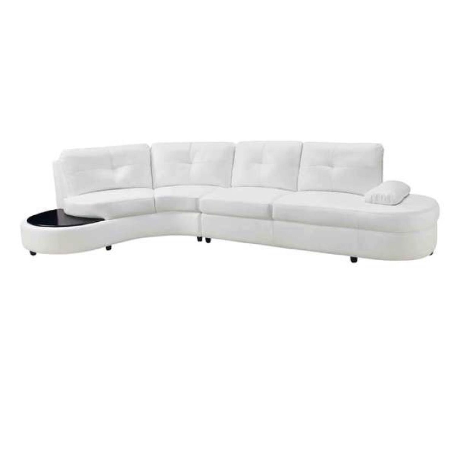Coaster Talia White Sectional Sofa w/ Built in Table