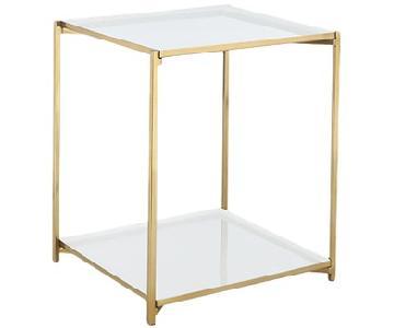 CB2 Cleo Modern White Enamel Side Table