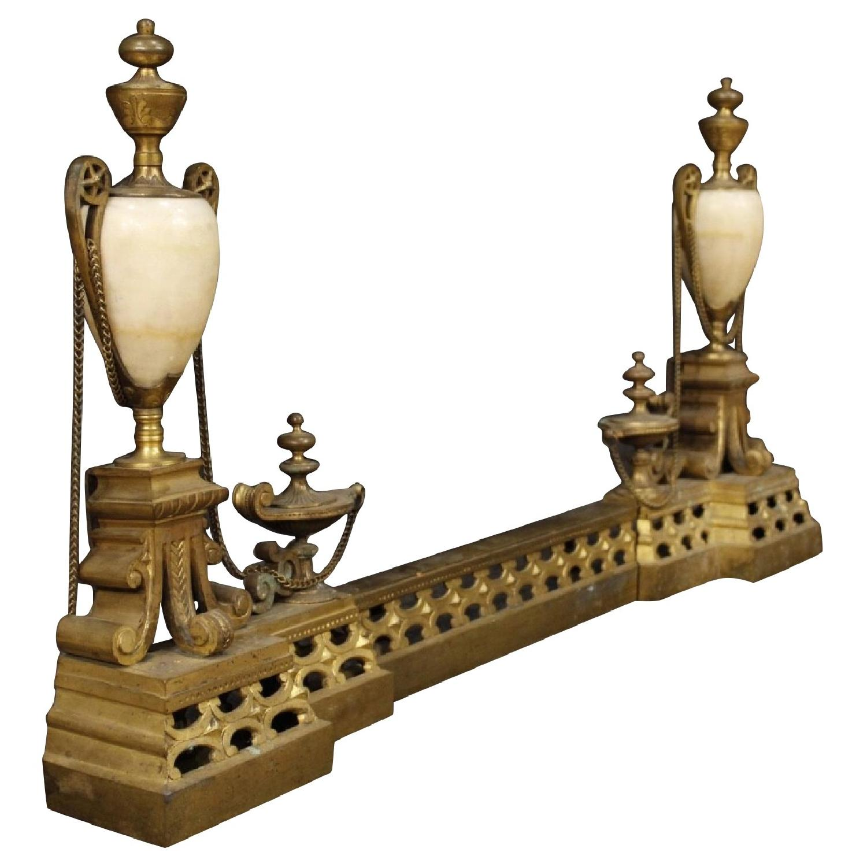 20th Century Chiselled Bronze & Brass Italian Andiron