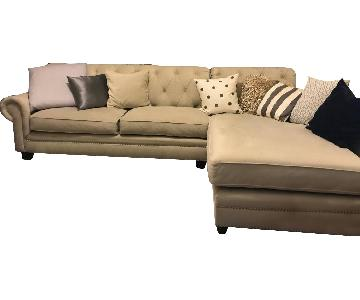 Bob's Modern Microsuede Left Arm Tufted Sectional Sofa