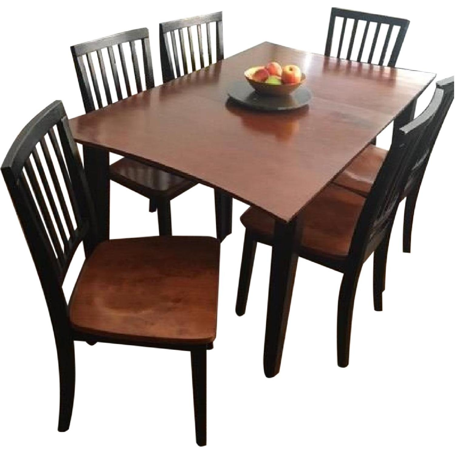 Black And Cherry Dining Table With Leaf