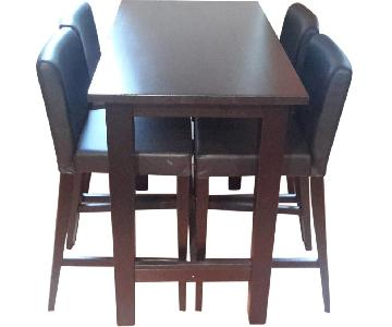 Black Bar Table w/ 4 Black Leather Chairs