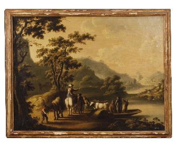 18th Century Oil on Canvas Italian Landscape Painting
