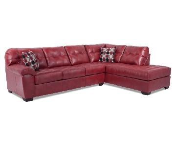 Bob's Red Leather Sectional Sofa & Ottoman