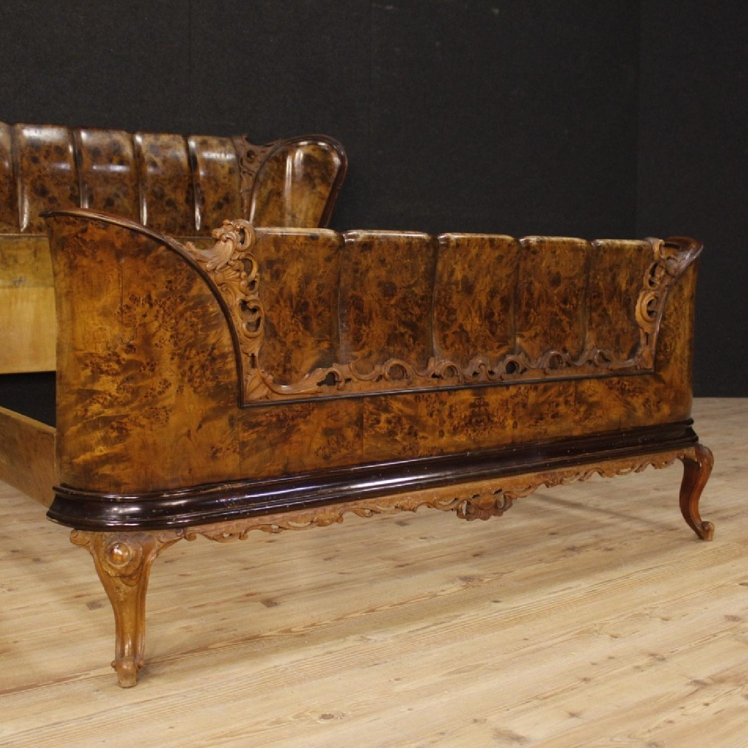 20th Century Cherry, Beech, Burl Walnut Italian Double Bed-1