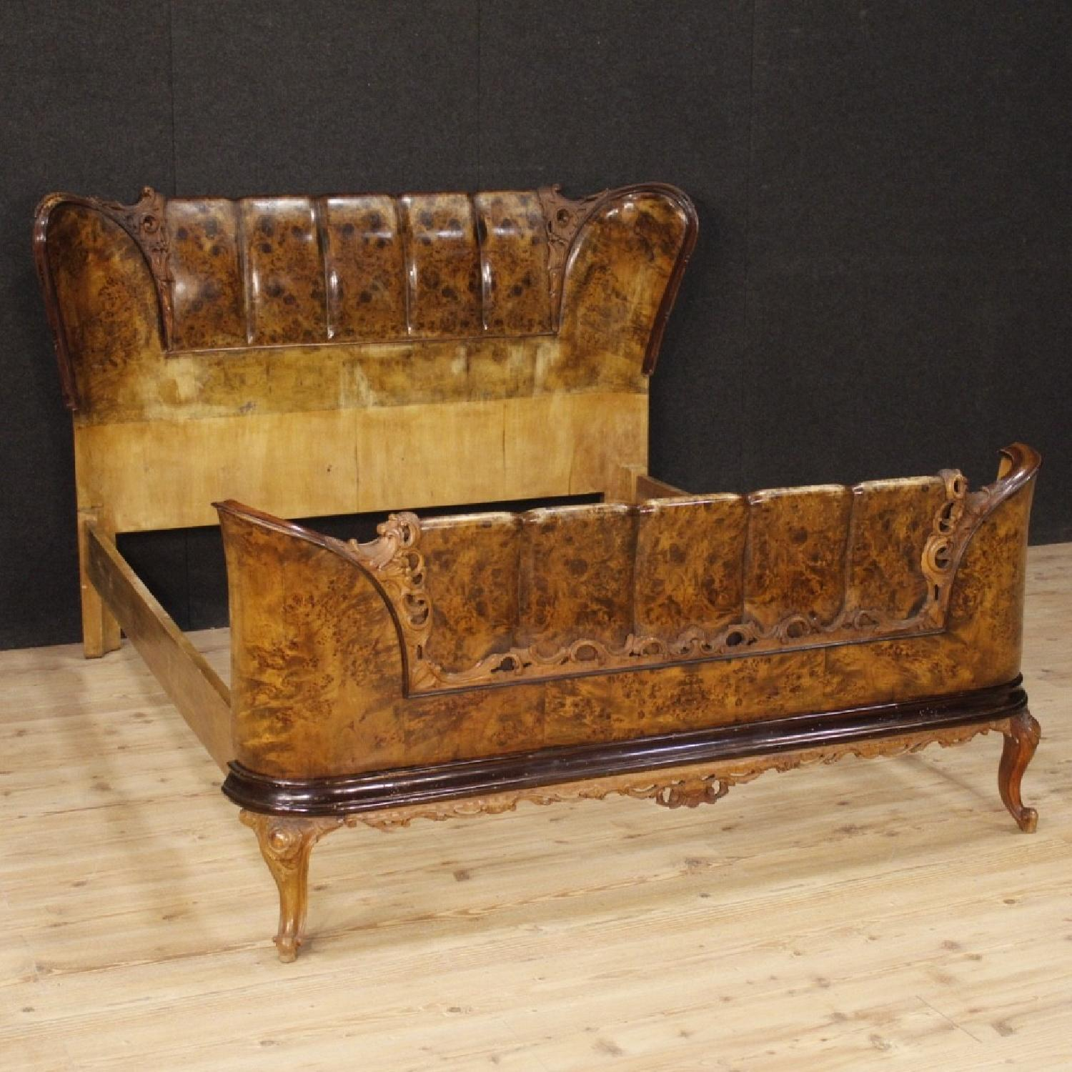 20th Century Cherry, Beech, Burl Walnut Italian Double Bed-4