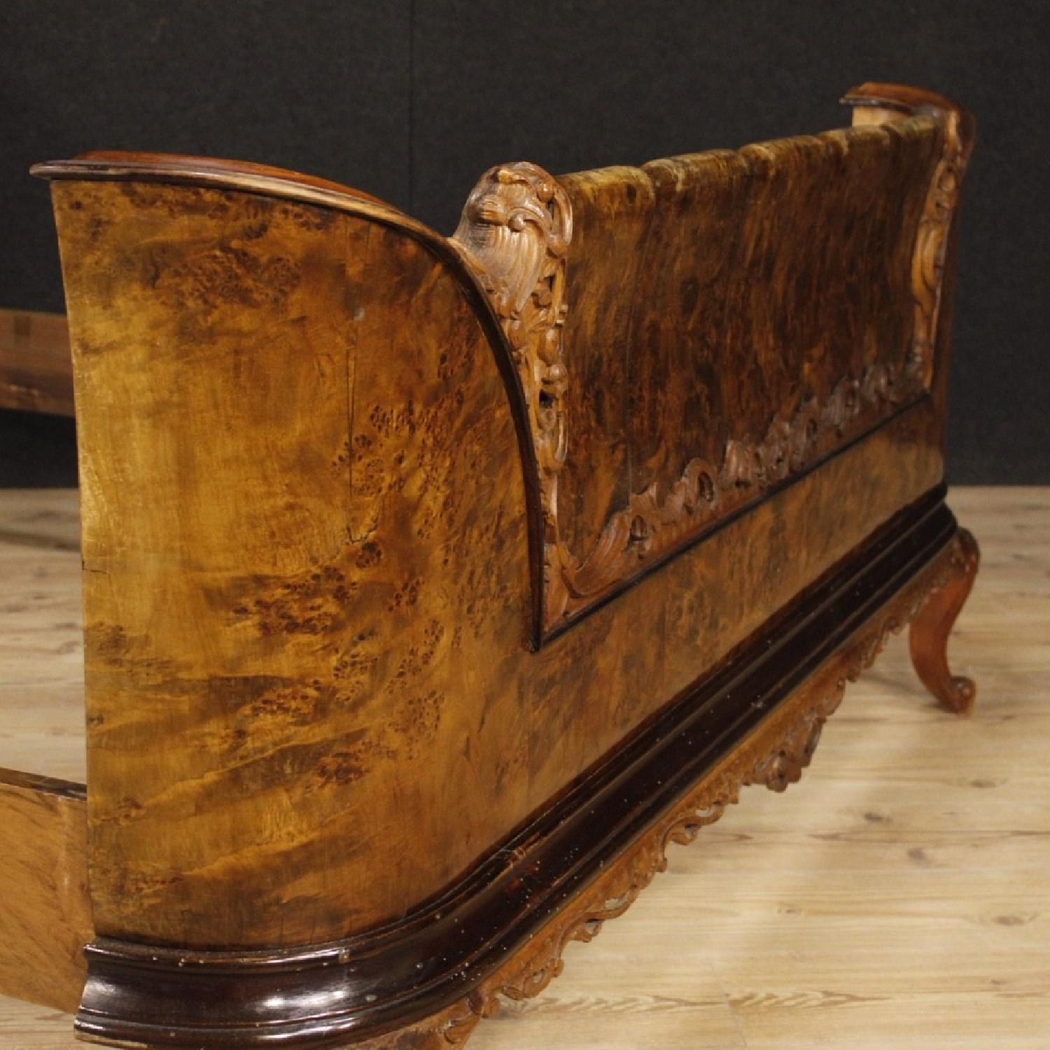20th Century Cherry, Beech, Burl Walnut Italian Double Bed-7