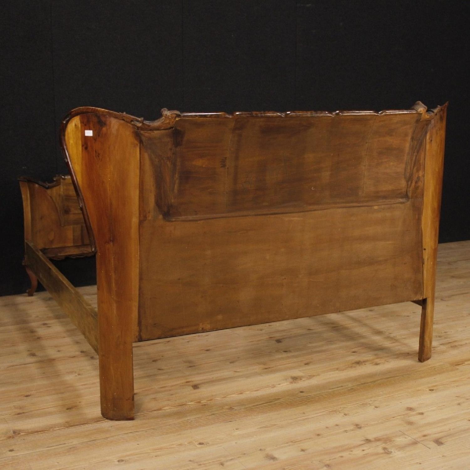 20th Century Cherry, Beech, Burl Walnut Italian Double Bed-8