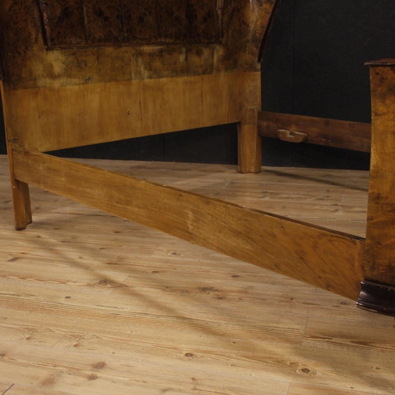 20th Century Cherry, Beech, Burl Walnut Italian Double Bed-10