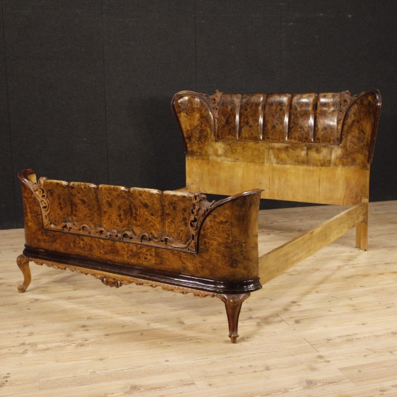 20th Century Cherry, Beech, Burl Walnut Italian Double Bed-11