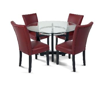 Bob's Glass Dining Table w/ 4 Red Leather Chairs