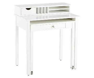 Container Store White Solid Wood Roll Out Desk