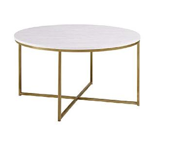 Faux Marble/Gold Coffee Table w/ X-Base