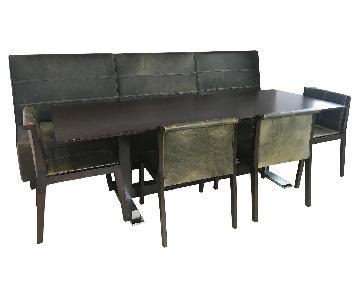 Holly Hunt Custom Green Leather & Dark Wood Bench
