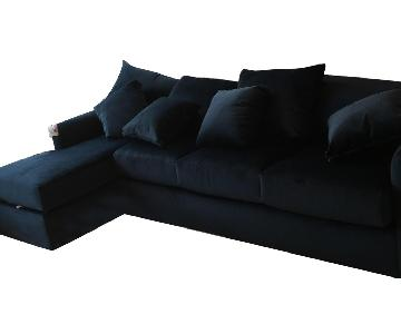 Navy Velvet 2-Piece Sectional Sofa