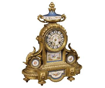 French Clock in Gilded Bronze & Brass w/ Painted Ceramic