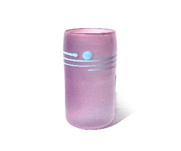 1980s Purple Striped Art Glass Vase