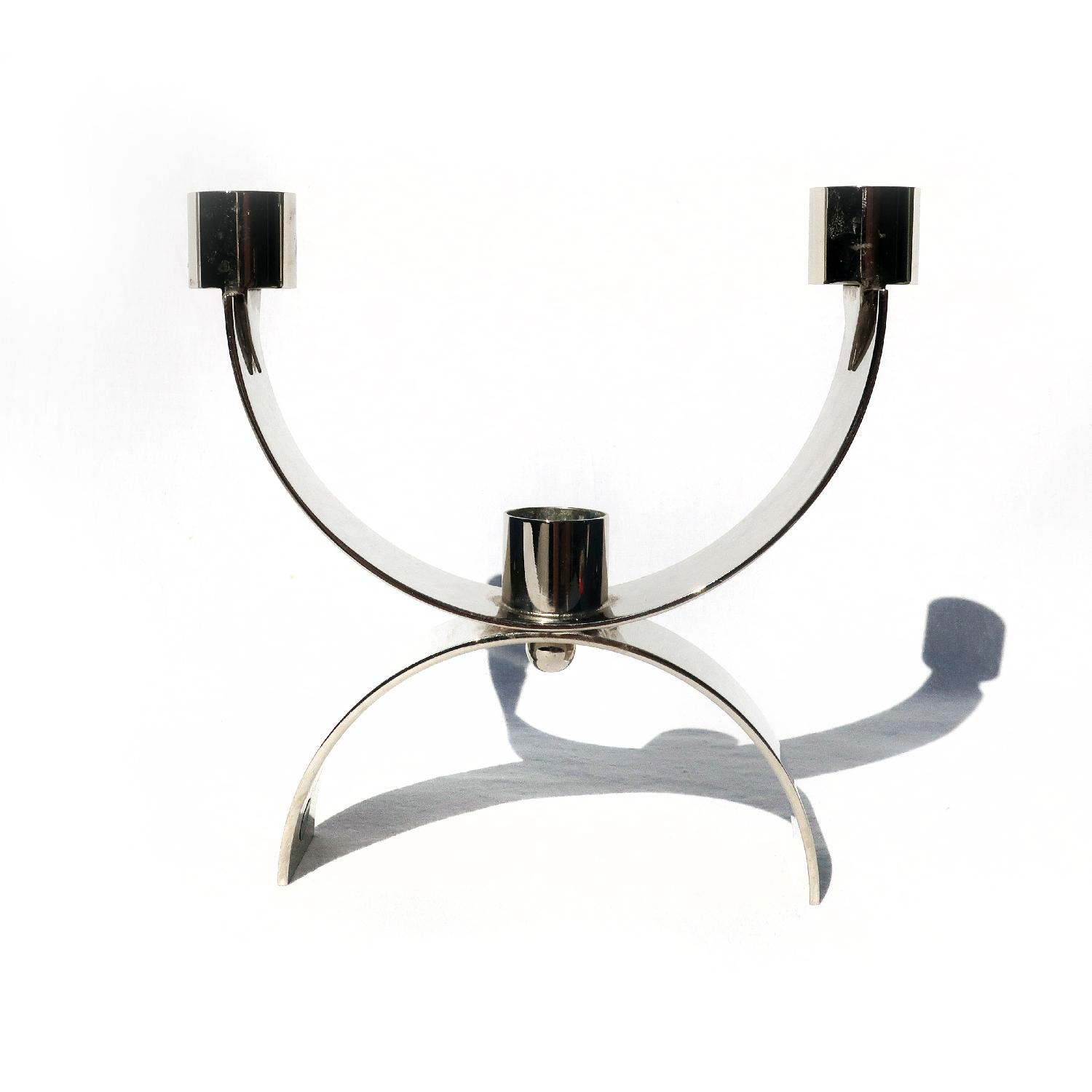Italian Modern Chrome Candle Holder