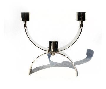 Italian Modern Chrome Candle Holder