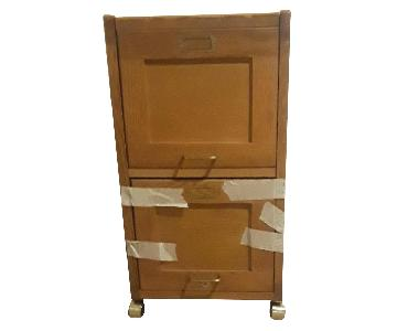 Contemporary 2-Drawer Mobile Filing Cabinet in Natural Maple