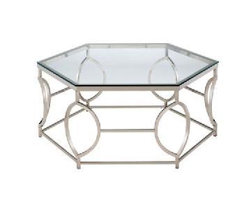 Furniture of America Chrome Glass Top Hexagon Coffee Table