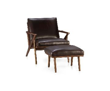 Crate & Barrel Cavett Leather Chair & Ottoman