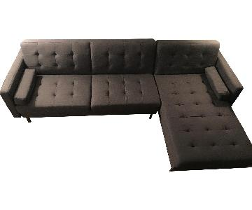 Grey 2-Piece Sleeper Sectional Sofa