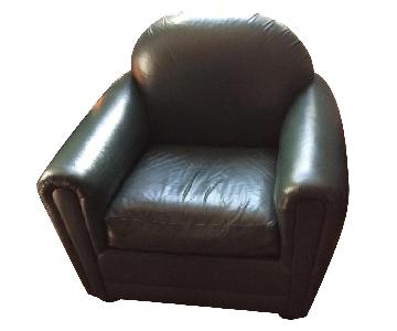 Ralph Lauren Forest Green Leather Arm Chair