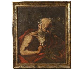 Antique 18th C Italian Religious Painting Saint Jerome